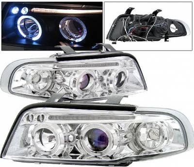 Headlights & Tail Lights - Headlights - 4 Car Option - Audi A4 4 Car Option LED Halo Projector Headlights - Chrome - 1PC - LP-AA496CB-5