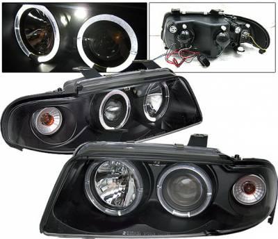 Headlights & Tail Lights - Headlights - 4 Car Option - Audi A4 4 Car Option LED Halo Projector Headlights - Black - 1PC - LP-AA499BB-YD