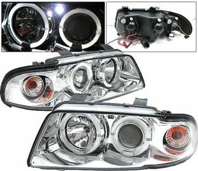 Headlights & Tail Lights - Headlights - 4 Car Option - Audi A4 4 Car Option LED Halo Projector Headlights - Chrome - 1PC - LP-AA499CB-YD