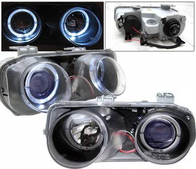 4 Car Option - Acura Integra 4 Car Option Dual Halo Projector Headlights - Black - LP-AI94BB-KS