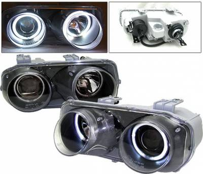 4 Car Option - Acura Integra 4 Car Option Dual Halo Projector Headlights - Black CCFL - LP-AI94BF-KS