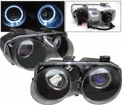 4 Car Option - Acura Integra 4 Car Option Dual Halo Projector Headlights - Black - LP-AI98BB-YD