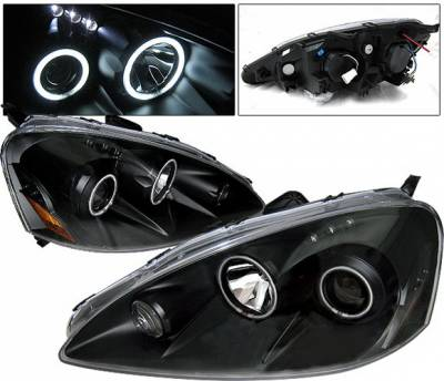 Headlights & Tail Lights - Headlights - 4 Car Option - Acura RSX 4 Car Option Dual Halo Projector Headlights - Black CCFL - LP-AR05BB-KS-CCFL