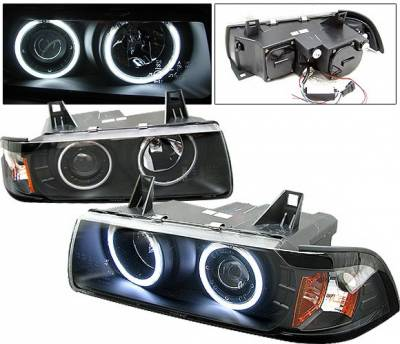 Headlights & Tail Lights - Headlights - 4 Car Option - BMW 3 Series 4 Car Option Dual Halo Projector Headlights - Black CCFL - 1PC - LP-BE362BF-KS