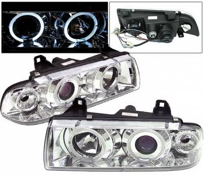 Headlights & Tail Lights - Headlights - 4 Car Option - BMW 3 Series 4 Car Option Dual Halo Projector Headlights - Chrome - LP-BE36CC-5