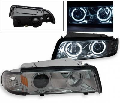 Headlights & Tail Lights - Headlights - 4CarOption - BMW 7 Series 4CarOption Halo Projector Headlights - LP-BE38BC-6