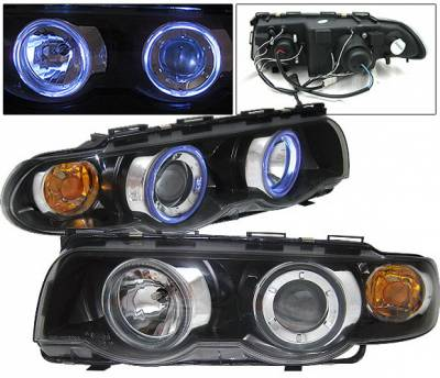 Headlights & Tail Lights - Headlights - 4 Car Option - BMW 7 Series 4 Car Option Halo Projector Headlights - Black - LP-BE38BC-9