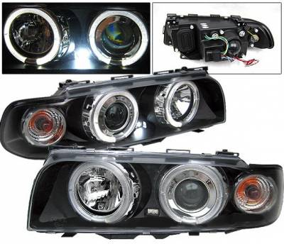 Headlights & Tail Lights - Headlights - 4 Car Option - BMW 7 Series 4 Car Option Halo Projector Headlights - Black - LP-BE38BC-YD