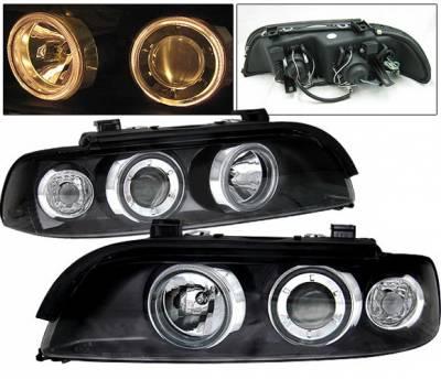 Headlights & Tail Lights - Headlights - 4 Car Option - BMW 5 Series 4 Car Option Dual Halo Projector Headlights - Black - LP-BE39BC-9