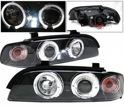 Headlights & Tail Lights - Headlights - 4 Car Option - BMW 5 Series 4 Car Option Dual Halo Projector Headlights - Black - LP-BE39BC-YD