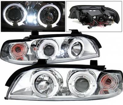 Headlights & Tail Lights - Headlights - 4 Car Option - BMW 5 Series 4 Car Option Dual Halo Projector Headlights - Chrome - LP-BE39CC-YD