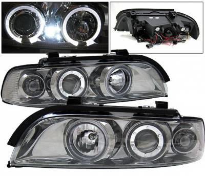 Headlights & Tail Lights - Headlights - 4 Car Option - BMW 5 Series 4 Car Option Dual Halo Projector Headlights - Smoke - LP-BE39GC-9