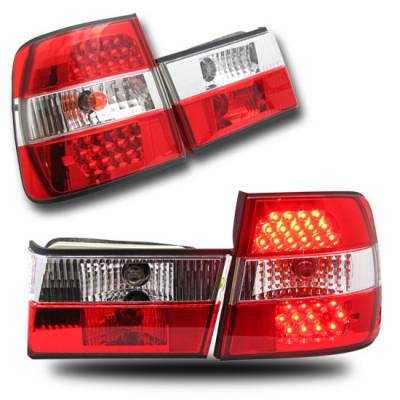 Headlights & Tail Lights - Led Tail Lights - Custom - BMW E34 5 SERIES RED CLEAR  LED