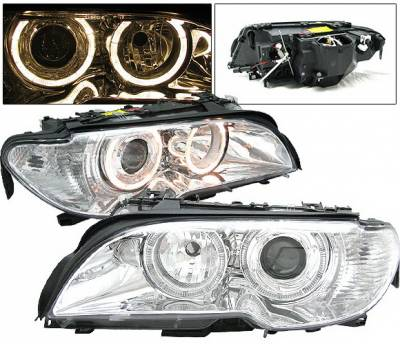 Headlights & Tail Lights - Headlights - 4 Car Option - BMW 3 Series 2DR 4 Car Option Dual Halo Projector Headlights - Chrome - LP-BE46022CC-DP