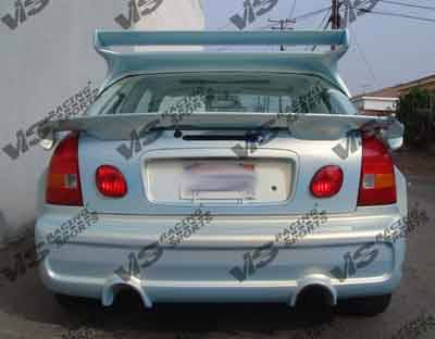Civic 2Dr - Rear Bumper - VIS Racing - Honda Civic 2DR & 4DR VIS Racing Invader-6 Rear Bumper - 92HDCVC2DINV6-002