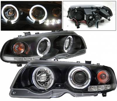 Headlights & Tail Lights - Headlights - 4 Car Option - BMW 3 Series 2DR 4 Car Option Dual Halo Projector Headlights - Black - LP-BE462BC-YD