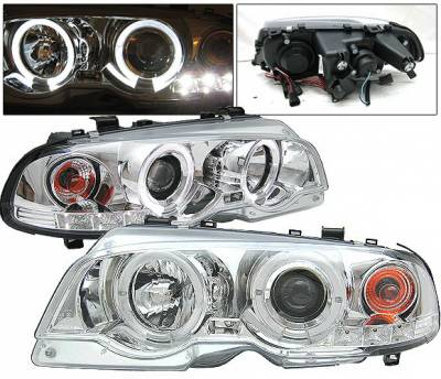 Headlights & Tail Lights - Headlights - 4 Car Option - BMW 3 Series 2DR 4 Car Option Dual Halo Projector Headlights - Chrome - LP-BE462CC-YD