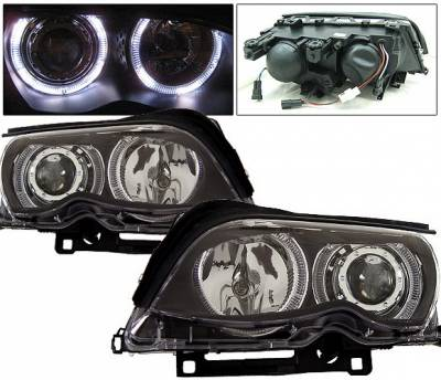 Headlights & Tail Lights - Headlights - 4 Car Option - BMW 3 Series 2DR 4 Car Option Dual Halo Projector Headlights - Black - LP-BE46402BCR-KS