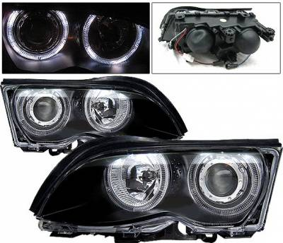 Headlights & Tail Lights - Headlights - 4 Car Option - BMW 3 Series 2DR 4 Car Option Dual Halo Projector Headlights - Black - LP-BE46499BCR-KS