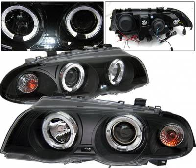 Headlights & Tail Lights - Headlights - 4 Car Option - BMW 3 Series 2DR 4 Car Option Dual Halo Projector Headlights - Black - LP-BE46BC-YD