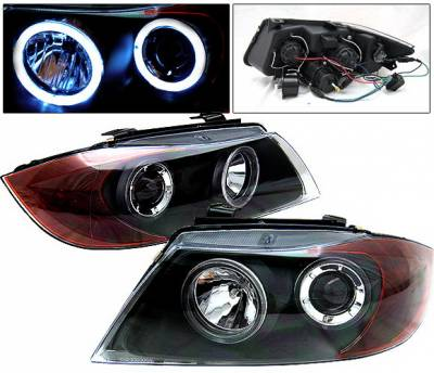 Headlights & Tail Lights - Headlights - 4 Car Option - BMW 3 Series 4 Car Option Dual Halo Projector Headlights - Black - LP-BE904BC-9