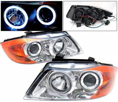Headlights & Tail Lights - Headlights - 4 Car Option - BMW 3 Series 4 Car Option Dual Halo Projector Headlights - Chrome - LP-BE904CC-9