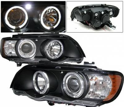 Headlights & Tail Lights - Headlights - 4 Car Option - BMW X5 4 Car Option LED Dual Halo Projector Headlights - Black - LP-BX501BC-YD