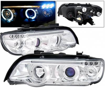 Headlights & Tail Lights - Headlights - 4 Car Option - BMW X5 4 Car Option LED Dual Halo Projector Headlights - Chrome - LP-BX501CC-5