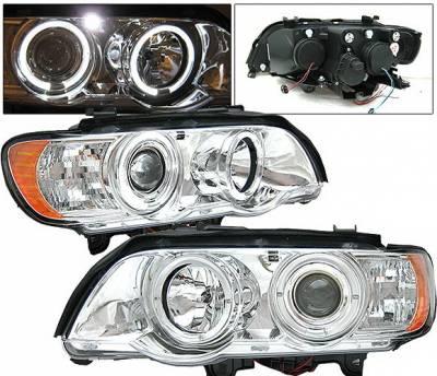 Headlights & Tail Lights - Headlights - 4 Car Option - BMW X5 4 Car Option LED Dual Halo Projector Headlights - Chrome - LP-BX501CC-YD