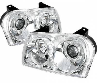 Headlights & Tail Lights - Headlights - 4 Car Option - Chrysler 300 4 Car Option Diamond Projector Headlights - Chrome - LP-C300C05C