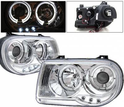 Headlights & Tail Lights - Headlights - 4 Car Option - Chrysler 300 4 Car Option Diamond Projector Headlights - Chrome - LP-C300C05C-YD