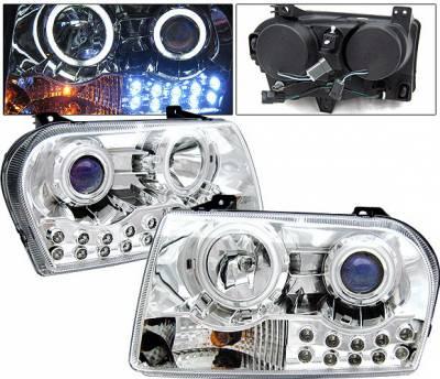 Headlights & Tail Lights - Headlights - 4 Car Option - Chrysler 300 4 Car Option LED Halo Projector Headlights - Chrome CCFL - LP-C300C-KS-CCFL