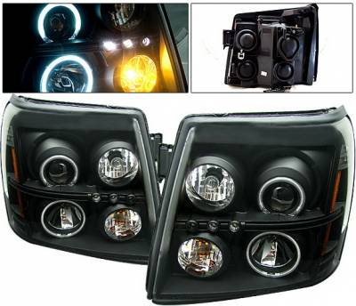 Headlights & Tail Lights - Headlights - 4 Car Option - Cadillac Escalade 4 Car Option Halo Projector Headlights - Black CCFL - LP-CAE02BF-KS