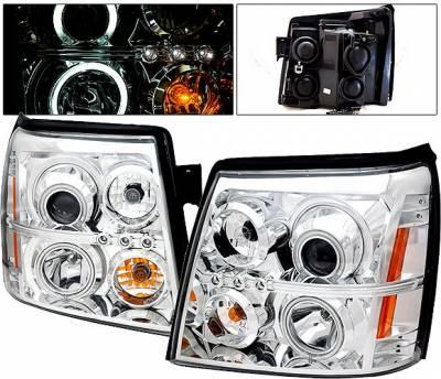Headlights & Tail Lights - Headlights - 4 Car Option - Cadillac Escalade 4 Car Option Halo Projector Headlights - Chrome CCFL - LP-CAE02CF-KS