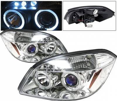 Headlights & Tail Lights - Headlights - 4 Car Option - Chevrolet Cobalt 4 Car Option LED Halo Projector Headlights - Chrome - LP-CCBT05CB-5