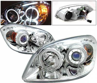 Headlights & Tail Lights - Headlights - 4 Car Option - Chevrolet Cobalt 4 Car Option LED Halo Projector Headlights - Chrome CCFL - LP-CCBT05CB-KS