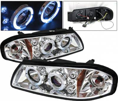 Headlights & Tail Lights - Headlights - 4CarOption - Chevrolet Impala 4CarOption LED Halo Projector Headlights - LP-CIM00CB-5