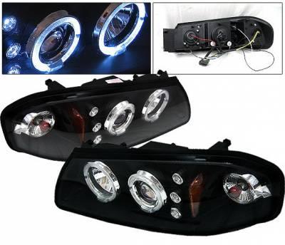Headlights & Tail Lights - Headlights - 4 Car Option - Chevrolet Impala 4 Car Option LED Halo Projector Headlights - Black - LP-CIM06BB-5
