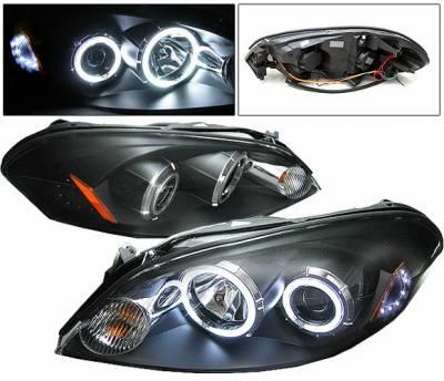 Headlights & Tail Lights - Headlights - 4 Car Option - Chevrolet Impala 4 Car Option CCFL LED Halo Projector Headlights - Black - LP-CIM06BF-KS