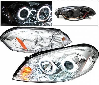 Headlights & Tail Lights - Headlights - 4 Car Option - Chevrolet Impala 4 Car Option CCFL LED Halo Projector Headlights - Chrome - LP-CIM06CF-KS