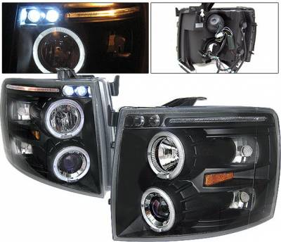 Headlights & Tail Lights - Headlights - 4 Car Option - Chevrolet Silverado 4 Car Option LED Halo Projector Headlights - Black - LP-CSV07BB-5