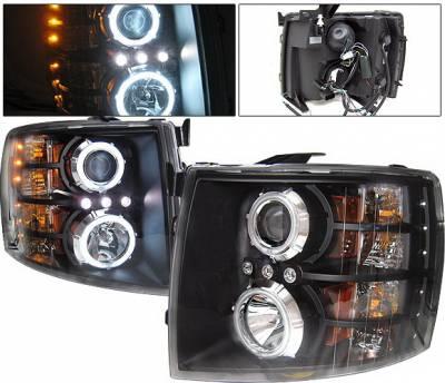 Headlights & Tail Lights - Headlights - 4 Car Option - Chevrolet Silverado 4 Car Option LED Halo Projector Headlights - Black CCFL - LP-CSV07BB-KS