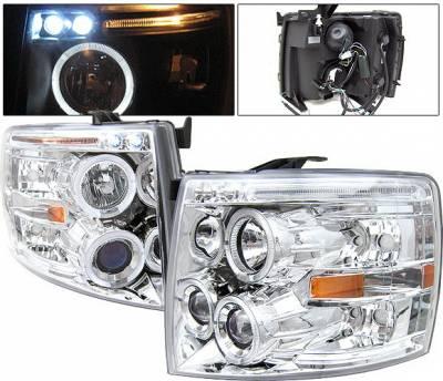 Headlights & Tail Lights - Headlights - 4 Car Option - Chevrolet Silverado 4 Car Option LED Halo Projector Headlights - Chrome - LP-CSV07CB-5