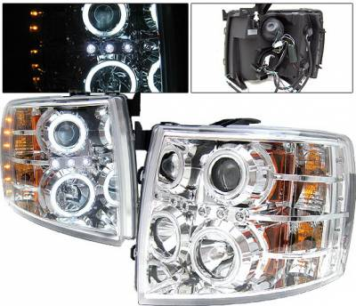 Headlights & Tail Lights - Headlights - 4 Car Option - Chevrolet Silverado 4 Car Option LED Halo Projector Headlights - Chrome CCFL - LP-CSV07CB-KS