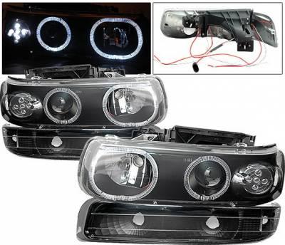 Headlights & Tail Lights - Headlights - 4 Car Option - Chevrolet Silverado 4 Car Option LED Halo Projector Headlights - LP-CSV99BC-6