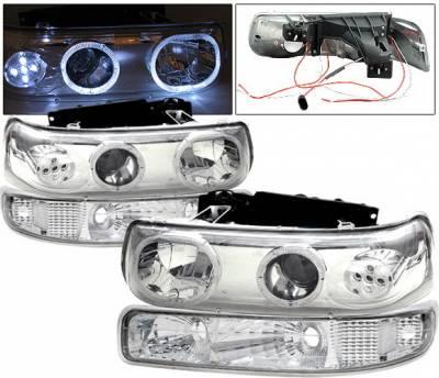Headlights & Tail Lights - Headlights - 4 Car Option - Chevrolet Silverado 4 Car Option LED Halo Projector Headlights - LP-CSV99CC-6