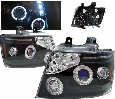Headlights & Tail Lights - Headlights - 4 Car Option - Chevrolet Tahoe 4 Car Option LED Halo Projector Headlights - Black - LP-CTA07BB-5