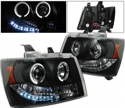 Headlights & Tail Lights - Headlights - 4 Car Option - Chevrolet Suburban 4 Car Option LED Halo Projector Headlights - Black - LP-CTA07BC-YD
