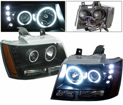 Headlights & Tail Lights - Headlights - 4 Car Option - Chevrolet Tahoe 4 Car Option LED Halo Projector Headlights - Black - LP-CTA07BF-KS