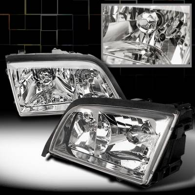Headlights & Tail Lights - Headlights - Custom Disco - Mercedes-Benz C Class Custom Disco Euro Crystal Headlights - LH-BW20295-KS
